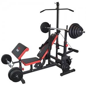Trainhard-Station-Fitness-Banc-de-musculation-Traction-latissimus-avec-barres-de-traction-longues-et-curlers-avec-disques-dhaltres-50-kg-Noirrouge-0