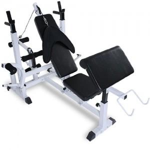 Physionics-Banc-de-musculation-multifonction-avec-support-pour-haltres-2-poids-de-5-kg--28mm-2-poids-de-25-kg--28mm-0