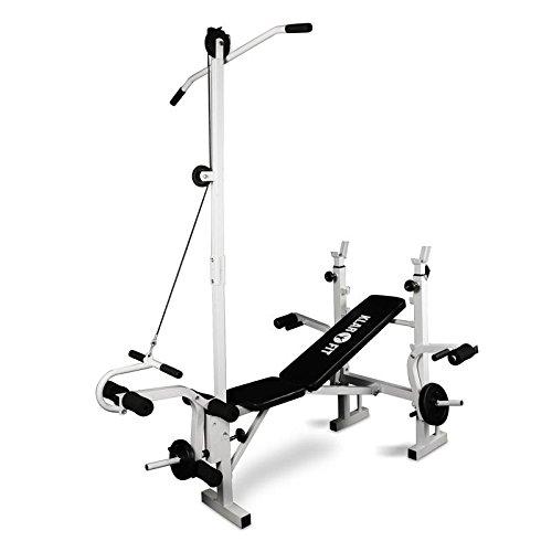 Klarfit-Banc-de-Musculation-Complet-Appareil-Muscu-Abdominaux-Pectoraux-Fessier-Dos-Bras-Jambes-avec-Curler-Blanc-0
