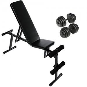 Physionics-Set-Banc-de-Musculation-Inclinable-Pliable-et-2-Haltres-Courts-Poids-Total-30-kg-0