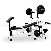 Klarfit-KS02-Station-de-musculation-fitness-mutlifonction-pupitre-pour-curl-butterfly-porte-haltres-cbles-dtirement-avec-banc-pour-entranement-complet-blanc-0