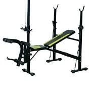 Banc-de-musculation-Fitness-entrainement-complet-dossier-rglable-cordes-traction-curler-supports-barre-et-haltres-noir-et-jaune-neuf-34-0-0