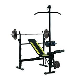 Banc-de-musculation-Fitness-entrainement-complet-dossier-rglable-cordes-traction-curler-supports-barre-et-haltres-noir-et-jaune-neuf-34-0