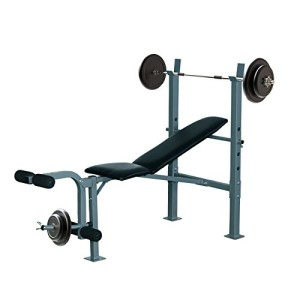 Banc-de-musculation-Fitness-entrainement-complet-dossier-rglable-curler-supports-barre-et-haltres-neuf-32-0