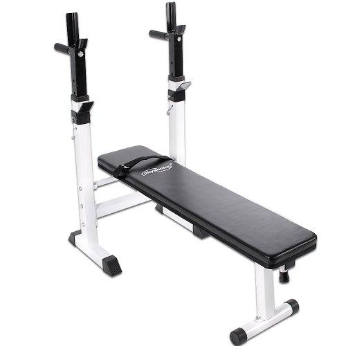 Physionics-Banc-de-Musculation-Pliable-avec-Support-pour-Haltre-et-Station–Dips-0