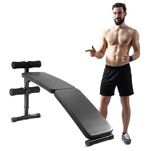 Costway-Banc-de-Musculation-Pliable-et-Inclinable-Dossier-Rglables-en-5-Positions-Banc-dEntranement-en-Acier-pour-Tout-Le-Corps-Charge-Max100kg-pour-la-Maison-et-la-Salle-de-Sport-126x33x70cm-0